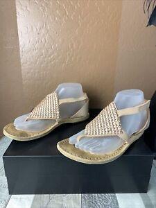 PEDRO GARCIA 38 (US 6-6.5) Rose Gold Ivana Swarovski Crystal Embellished Sandals