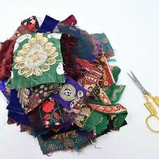 100g Deep Mix of SmalI Sari Fabric Snippets Scraps Embellishments Lucky Dip