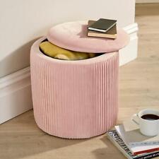 Iris Velvet Blush Ottoman Storage Box Pouffe Seat Stool Footstool Storage Bench