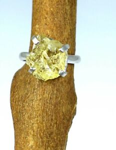 100% Natural Yellow Topaz 16.35 Ct 925 Sterling Silver Gemstone Rough Men's Ring