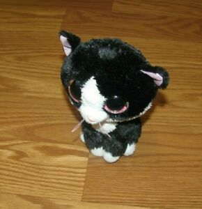 """TY Beanie Boos Pepper the Cat 6"""" Big Pink Sparkly Eyes Black 2014 Plush Kitty"""