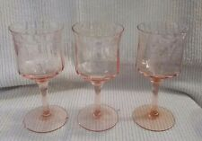 3 Vintage Pink Depression Wine Glasses Etched with Floral Design