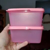New TUPPERWARE Keep Tab Set SET OF 2 Pink 16 Oz FREE US SHIP BPA-Free