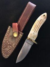 Custom Hand Made Hunting Knife White Water Buffalo Bone Handle Leather Sheath