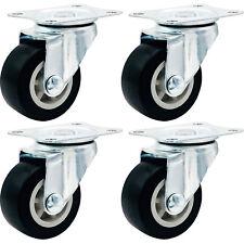 "4 Pack 1.5"" Low Profile Casters Wheels Soft Rubber Swivel Caster BLACK"
