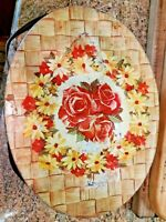 """Vintage 11""""x4"""" Tin Oval Metal Yellow Floral Sewing Basket Handles with Contents"""