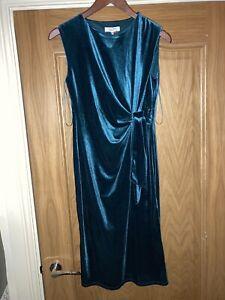 Principles Petite Velvet Teal Dress - UK 14