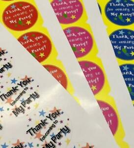Thank You for Coming to My Party Stickers Labels x35 for Sweet Cones Bags Favour