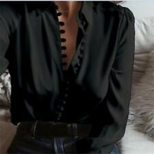 Women Summer Fashion Office Button Up Shirt Top Plus Size Long Sleeve Blouse LG