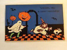Halloween Fantasy Postcard Brundage cute boy girl black cat carving JOL Gabriel
