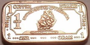 Gem Unc .999 Pure Copper 1 Gram Ship With Sails Bar