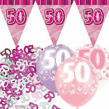 Pink Silver Girl Glitz 50th Birthday Flag Banner Party Decoration Pack Kit Set