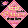 Personalised Baby On Board Car Sign ~ Grandad's Princess Baby Pink & Gold