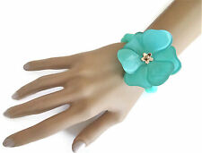 Pretty Turquoise Beaded elasticated bracelet with Large Flower detail Stretchy