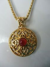 Classy Necklace with Pendant, 925 Silver Gold Plated, with Stone