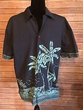 DISNEY STORE TIKI KINGDOM Cotton Mickey Minnie Hawaiian Shirt ~ Mens Medium