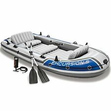 New listing Intex 68325EP Excursion Inflatable 5 Person Heavy Duty Fishing Boat Raft Set wit