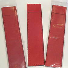 Lot of 3 CHERRY RED SUEDE LEATHER Pen Pouch/Sleeve/ Holder