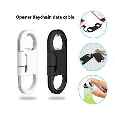 3 in1 Bottle Opener Keychain Data Cable Micro USB Charging Cord for Smart Phone