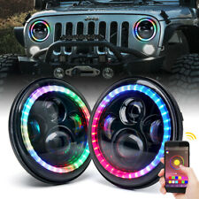 "Xprite 7"" 90W LED Headlights w/ RGB Dancing Halo Ring for Jeep Wrangler JK/TJ/LJ"