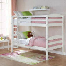 Bunk Beds Twin Over Twin Kids Furniture Bedroom Ladder Wood Convertible White