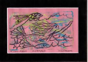 MERMAID by Ruth Freeman MIXED MEDIA MEASURES 5  X 7  WITH INCLUDED MAT