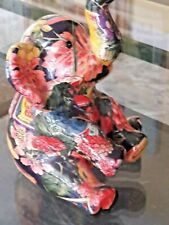 "Elephant Figurine  Floral Decoupage Trunk Up 7.5"" Must See Beautiful"