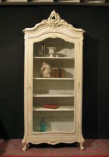 ANCIENNE  VITRINE DE STYLE LOUIS XV ROCAILLE patine Shabby blanc cassé armoire