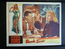 1956 BLONDE SINNER - SEXY DIANA DORS LOBBY CARD - EXPLOITATION NOIR