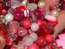 New 6/oz Mixed GLASS Assortment of PINKS, Blush, Rose 6-15mm glass mix lot