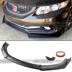 Fit 13-15 Civic 4Dr Sedan JDM CS Style 3 PCS Matte Front Bumper Lip Kit Spoiler