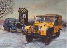 Land Rover series 1 Landrover AA Phone Box Riley Kestral ? Snow Christmas card