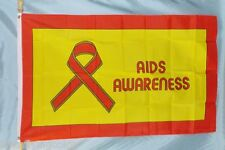 Aids Awareness Flag 3X5' New Banner Red Ribbon Yellow