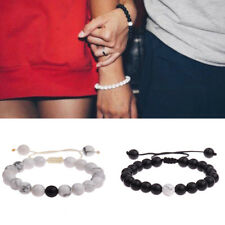 Couple His & Hers Distance Hand Knitted Bracelet Lava Bead Matching YinYang Love
