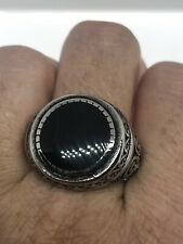 Vintage Black Onyx Mens Ring Stainless Steel Size 13