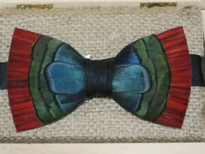 """Brackish """"Hemingway"""" Pheasant Feathers Adjustable Bow Tie ~ New In Wooden Box"""