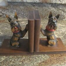 SWEET VINTAGE CARVED WOOD SCOTTISH TERRIER BOOKENDS, SCOTTIE DOGS