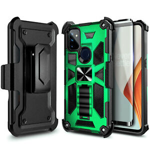 For OnePlus Nord N10 5G / N100 Belt Clip Holster Kickstand Cover +Tempered Glass