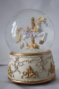 XL Spieluhr Schneekugel ca.14 x 10 cm Pferd mit Rosen + Engel Putti