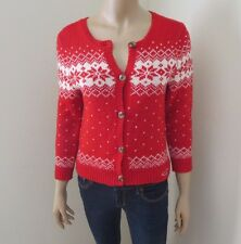 NWT Hollister Women Cable Knit Cardigan Christmas Sweater Size Small Top Red