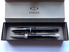 Custom Crystal Design Parker Urban Black Ballpoint & Roller Ball Pen Gift Set