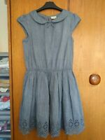 Next Girls Chambray Blue Dress 16 Years 100% Cotton Collar Broderie Anglaise