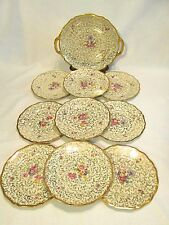 RRW JOHANN HAVILAND BAVARIA #17 DESSERT SET HAND PAINTED FLOWERS GOLD TRIM 10