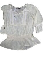RXB Women's Blouse. Size medium white lightweight and sheer top. Good condition.