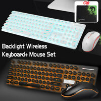 🔥 2.4G Wireless LED Backlit Gaming Keyboard Mouse Pad Set for Desktop PC Laptop