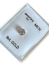 9ct Gold 5mm ROUND Clear CZ Crystal Ear Stud Single Stud MENS  Earrings