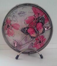 Wire Rose Butterfly Tea Light Oil Burner Pink Flowers Butterfly