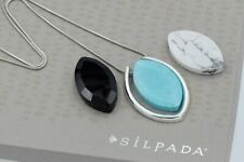 Silpada Sterling Silver Interchangeable Pendant Black White Howlite Necklace HTF