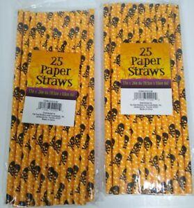 "50 Halloween Paper Straws - Orange Black Skulls (2 Packs of 25) 7.7"" x 2.4"" dia"