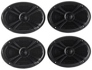 (4) Rockville RMSTS69B 6x9 2000w Waterproof Marine Boat Speakers 2-Way Black